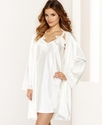 Pajamas, Solid Charmeuse Chemise and Wrap Set