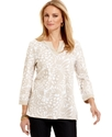 Top, Three-Quarter-Sleeve Tunic
