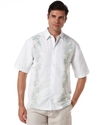 Big and Tall Shirt, Short Sleeve Embroidered Panel