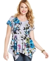 Plus Size Top, Short-Sleeve Printed Handkerchief H