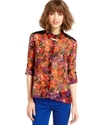 Juniors Top, Long Sleeve Floral-Print Cutout Blous