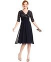 Petite Dress, Elbow-Sleeve Lace Empire-Waist
