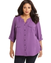 Plus Size Top, Three Quarter Sleeve Roll Tab