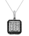 Sterling Silver Necklace, Black and White Diamond 