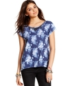 Juniors Top, Short Sleeve Floral-Print High-Low