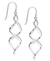 Sterling Silver Earrings, Twisted Wire Drop Earrin
