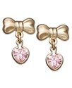 Children&#39;s 14k Gold Earrings, Pink Cubic Zirconia 