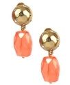 Earrings, Worn Gold-Tone Coral Drop Clip Earrings