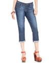Juniors Jeans, Cuffed Medium Wash Capri
