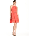 Dress, Sleeveless Belted Seamed A-Line