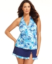 Plus Size Swimsuit, Halter Printed Tankini Top Wom