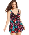 Plus Size Swimsuit, Bow-Front Printed Swimdress Wo