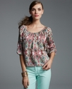 Top, Three-Quarter-Sleeve Printed Peasant