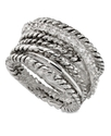 Ring, Silver-Tone Cubic Zirconia Woven Band