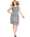 Plus Size Dress, Sleeveless Printed Sheath