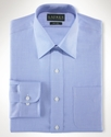 Dress Shirt, Slim Fit No Iron Blue Herringbone
