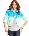 Juniors Jacket, Dip-Dye-Print Denim