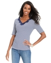 Signature Top, Short-Sleeve Striped V-Neck