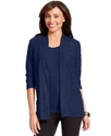 Cardigan, Three-Quarter-Sleeve Open-Front