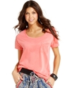 Juniors Top, Short Sleeve Lace Tee