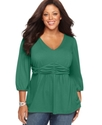 Plus Size Top, Three Quarter Sleeve Ruched Empire