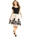 Dress, Short Sleeve Ruched Floral A-Line