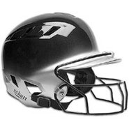 Air-6 2-Color Batters Helmet with Mask - Black/Sil