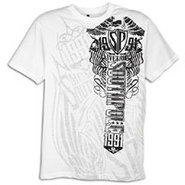Flock and Inside Print S/S T-Shirt - Mens - White