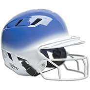 Air-6 2-Color Batters Helmet with Mask - Royal/Whi