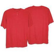 Two-Button Poly Baseball Jersey - Mens - Scarlet