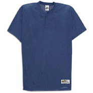 Two-Button Mesh Baseball Jersey - Mens - Navy