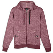 Full Zip Denim Fleece Hoodie - Mens - Pomegrante