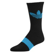 Light Trefoil Crew Sock - Mens - Black/Turquoise