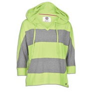 Plus Size 3/4 Sleeve Stripe Hoodie - Womens - Lime