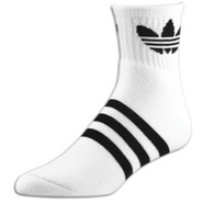 Originals Trefoil Quarter Sock - Mens - White/Blac