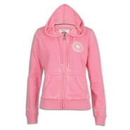Burnout Full Zip Hoodie - Womens - Acid Pink