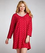 Pop In Red Snowflake Henley Nightshirt Plus Size S