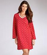 Pop In Red Snowflake Henley Nightshirt Sleepwear