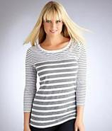 Mix Stripe 3¾4 Sleeve Boat Neck T-Shirt