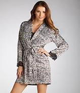 Leopard Stretch Satin Short Robe Sleepwear