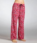 Heart Leopard Microfiber Fleece Pajama Pants Sleep