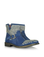 Navy Blue Studded Leather Biker Boots