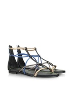 Jamaica - Metallic Braided Leather Flat Sandal