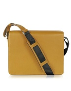 Mustard Yellow Leather Messenger Bag