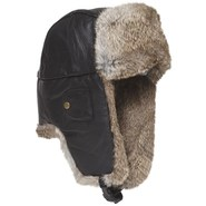 Mad Bomber(R) Leather Aviator Hat - Rabbit Fur (Fo