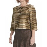 Louben Crinkle Linen Crop Jacket - 3/4 Sleeve (For
