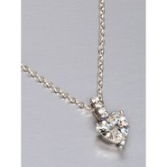 "Jokara Drop Heart Pendant Necklace - 16"", Ste"