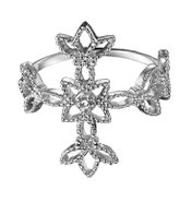 Sterling Silver Diamond Accent Cross Ring