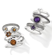 Chic Stackable Ring Set - Purple & Brown