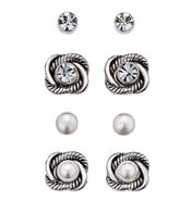 Pearlesque and Rhinestone Interchangeable Earring